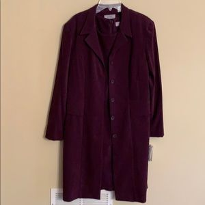 2-piece dress and coat set in plum